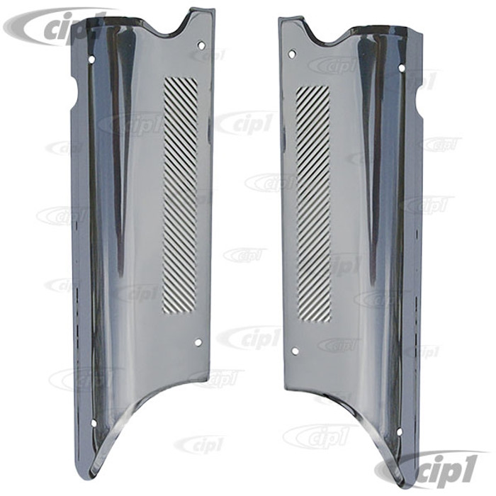 ACC-C10-3773 - (EMPI 4578) FROM GERMANY - PAIR OF HIGHLY POLISHED STAINLESS STEEL LOWER DOOR POST GUARDS/COVERS - BEETLE SEDAN 47-79 - SOLD PAIR