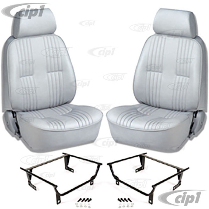 C15-80-1300-52-WA - SCAT PRO 90 RECLINER SEATS WITH HEADREST - GREY VINYL - LEFT & RIGHT - WITH MOUNTING  ADAPTERS (SPEC.YEAR/MODEL) - SOLD PAIR