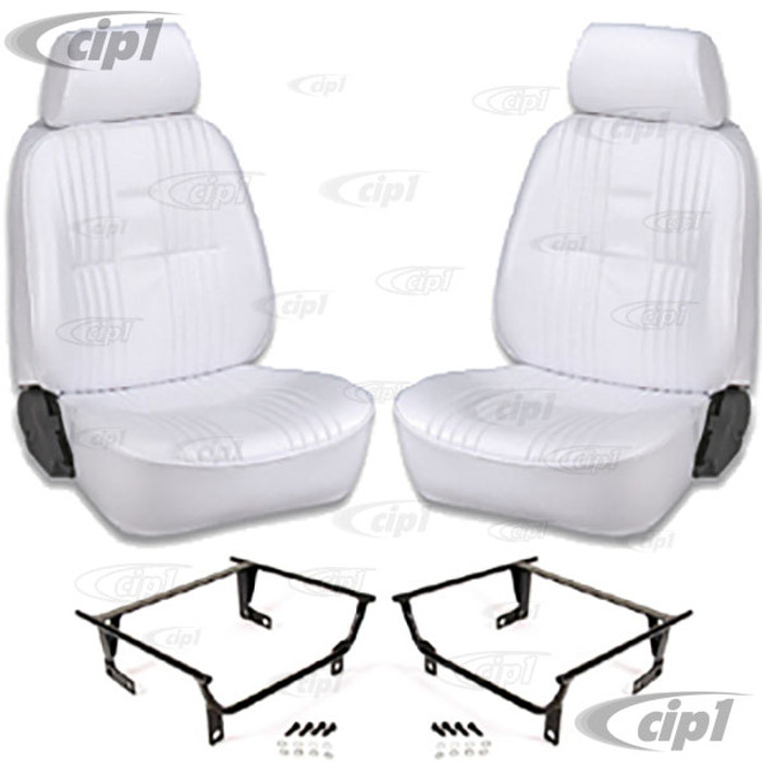 C15-80-1300-53-WA - SCAT PRO 90 RECLINER SEATS WITH HEADREST - WHITE VINYL - LEFT & RIGHT - WITH MOUNTING  ADAPTERS (SPEC.YEAR/MODEL) - SOLD PAIR