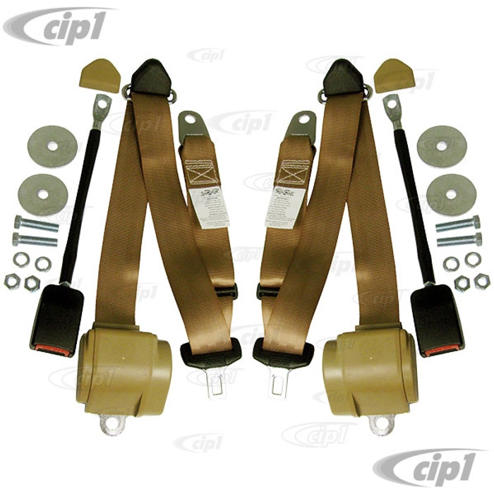 ACC-C10-3852 - (RBT-3PTEU-TAN) - PAIR OF TAN 3-POINT RETRACTABLE EUROPEAN STYLE SEATBELTS - WITH BASIC MOUNTING HARDWARE (CUSTOM VW MOUNTING BRACKETS SOLD SEP.) - TAN - SOLD PAIR