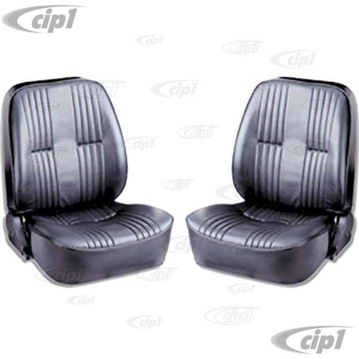 C15-80-1400-51 - SCAT LOWBACK RECLINER SEATS WITHOUT HEADREST - BLACK VINYL LEFT & RIGHT PAIR - (A100)