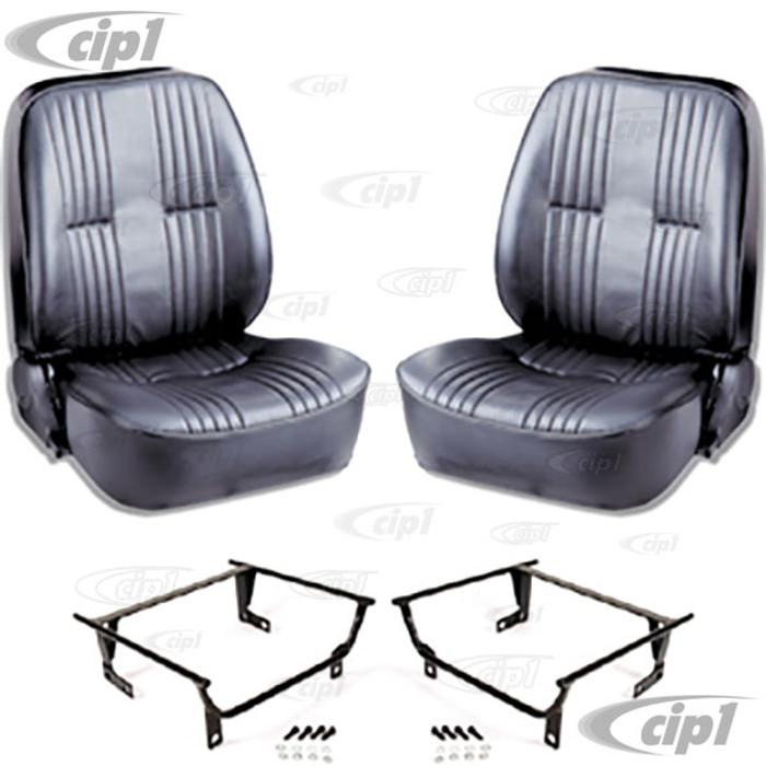 C15-80-1400-51-WA - SCAT LOWBACK RECLINER SEATS W/O HEADREST - BLACK VINYL -W/ADAPTERS (SPEC.YEAR/MODEL) PAIR - (A100)