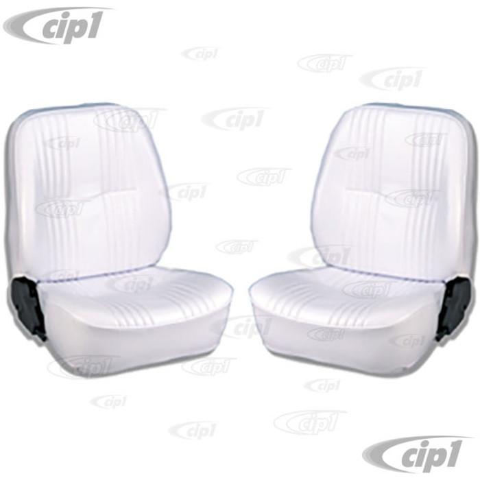 C15-80-1400-53 - SCAT LOWBACK RECLINER SEATS WITHOUT HEADREST - WHITE VINYL LEFT & RIGHT PAIR - (A100)