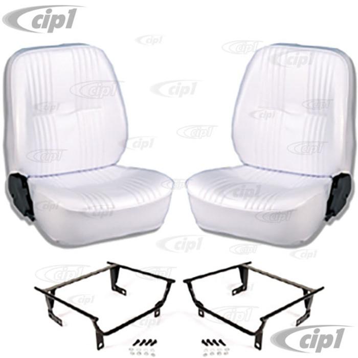 C15-80-1400-53-WA - SCAT LOWBACK RECLINER SEATS W/O HEADREST - WHITE VINYL-W/ADAPTERS (SPEC.YEAR/MODEL) PAIR - (A100)