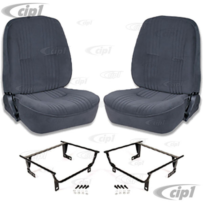 C15-80-1400-61-WA - SCAT LOWBACK RECLINER SEATS WITHOUT HEADREST - BLACK VELOUR PAIR - WITH ADAPTER - (A100)