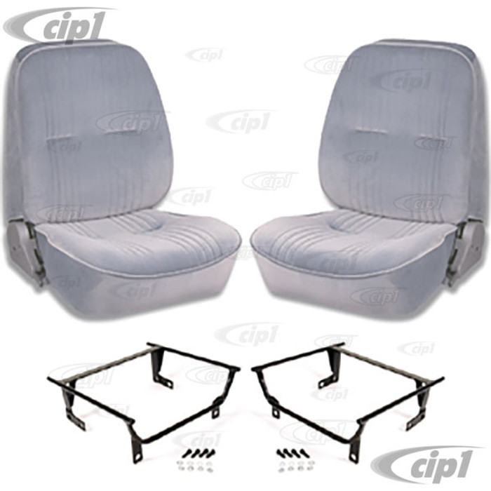 C15-80-1400-62-WA - SCAT LOWBACK RECLINER SEATS WITHOUT HEADREST WITH ADAPTERS- GREY VELOUR - PAIR - (A100)