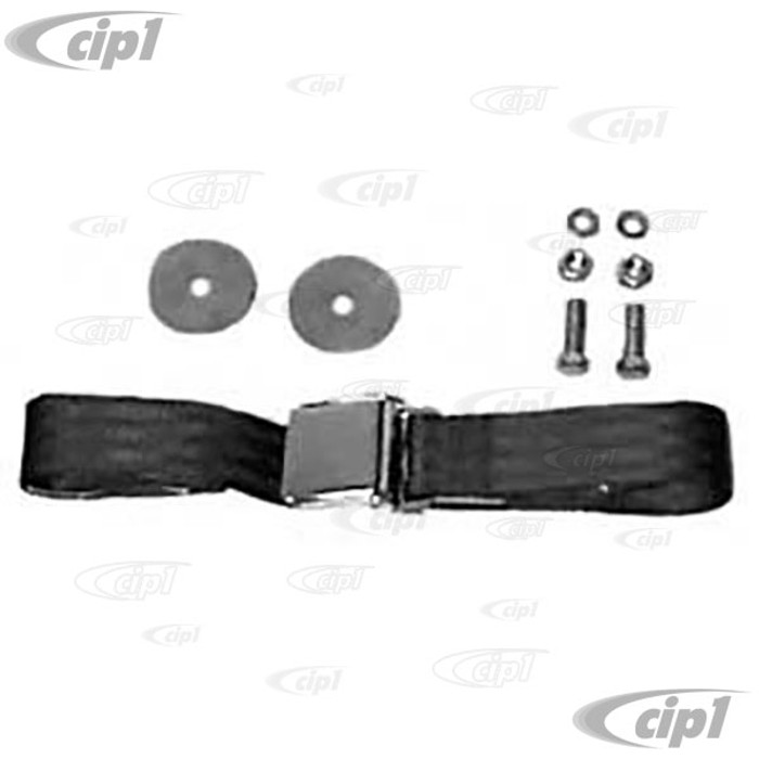 C16-111-704-BK - VINTAGE STYLE 2 POINT SEAT BELT  BLACK - FITS ALL AIR-COOLED MODELS - MADE IN THE USA - SOLD EACH