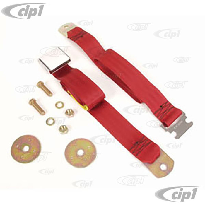 C16-111-704RD - VINTAGE STYLE 2 POINT SEAT BELT  RED - FITS ALL AIR-COOLED MODELS - MADE IN THE USA - SOLD EACH