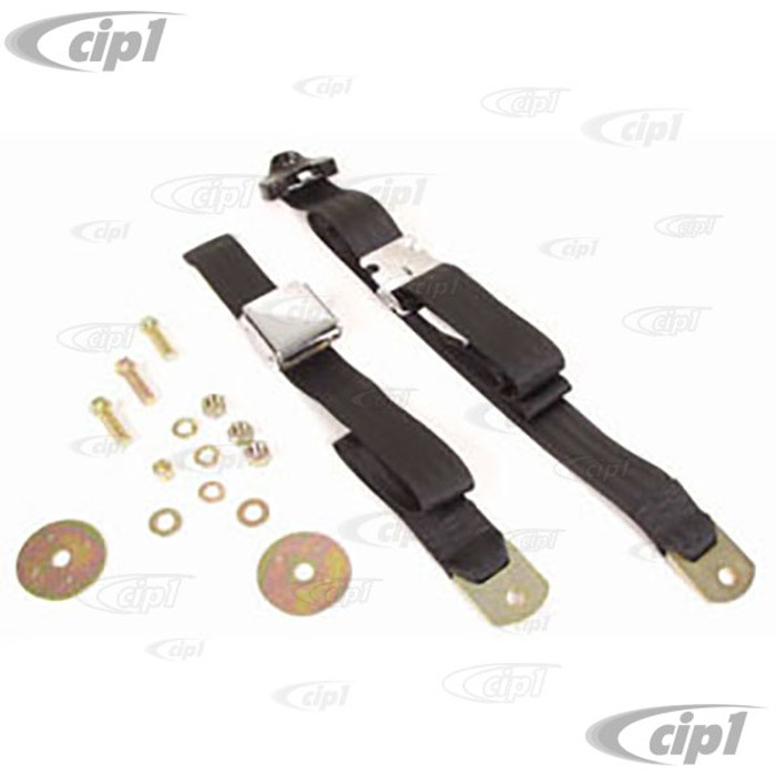 C16-111-706BK - VINTAGE STYLE 3 POINT SEAT BELT- BLACK - FITS ALL AIR-COOLED MODELS - MADE IN THE USA - SOLD EACH