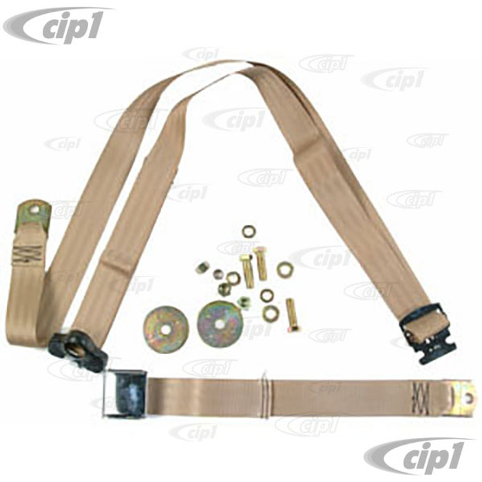 C16-111-706LTBN - VINTAGE STYLE 3 POINT SEAT BELT- TAN - FITS ALL AIR-COOLED MODELS - MADE IN THE USA - SOLD EACH