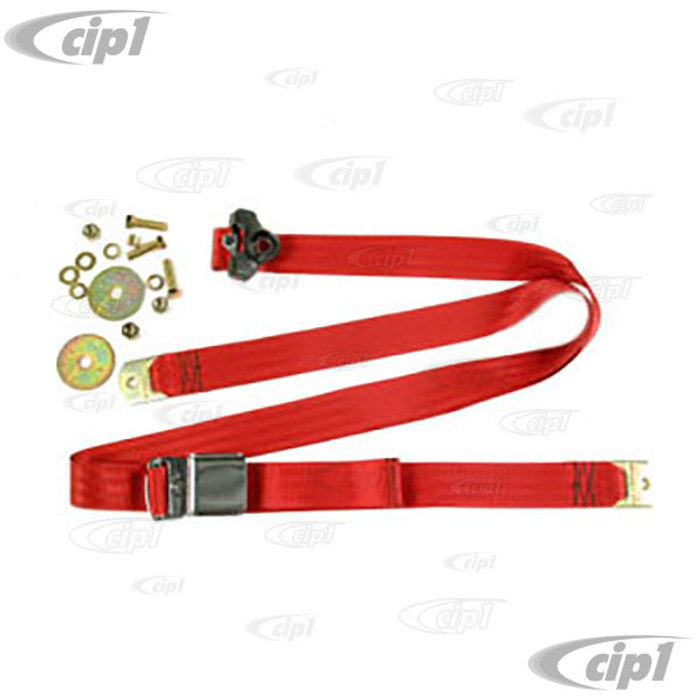 C16-111-706RD - VINTAGE STYLE 3 POINT SEAT BELT- RED - FITS ALL AIR-COOLED MODELS - MADE IN THE USA - SOLD EACH
