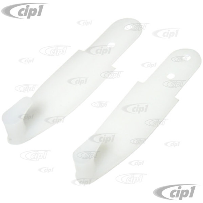 C16-111-723A-WH - (113-857-723AWH 113857723AWH) - WHITE HOOKS FOR SHOULDER SEAT BELTS (DUAL HOLE DESIGN) - BEETLE SEDAN 68-77 - BUS 68-74 - TYPE-3 67-74 - SOLD PAIR