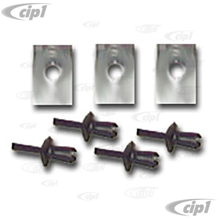 C16-113-117B - (113-857-117-B 113857117B 113-857-113 113857113) - GLOVE BOX RETAINING RING PINS & CLIPS - STD BEETLE 68-77 - SUPER BEETLE 71-72 - SOLD 7 PIECE SET