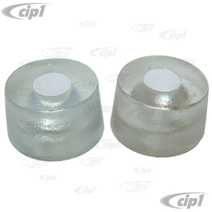 C16-113-553 - (113-885-553 113885553) GERMAN - PAIR OF REAR SEAT BUMP STOPS - CLOUDY CLEAR - BEETLE 58-77 (EXCEPT CONVERTIBLE) - SOLD PAIR