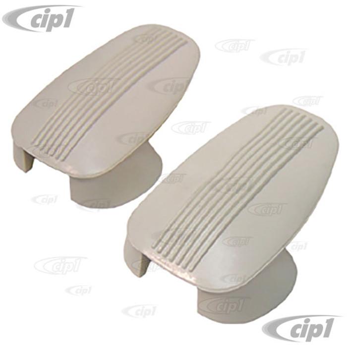 C16-113-638C-WH - (113-857-637B 113857637B) - WHITE REAR HANGER COVERS - BEETLE SEDAN 61-67 - SOLD PAIR