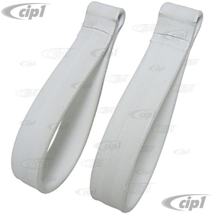 C16-151-611A - (151-857-611A 151857611A) - SHOW QUALITY EXCELLENT PRODUCTION - WHITE ASSIST STRAPS - REAR SEAT AREA - PAIR - BEETLE CONVERTIBLE 54-79 - SOLD PAIR