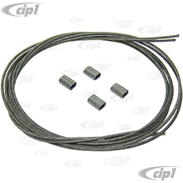 C16-155-971A - (155-871-971A 155871971A) - GERMAN - CONVERTIBLE SIDE TENSION CABLE WITH CRIMP CLIPS (1 PIECE CABLE WHICH NEEDS TO BE CUT IN HALF) - LEFT AND RIGHT - BEETLE 56-79 - GHIA 57-74 - SOLD SET