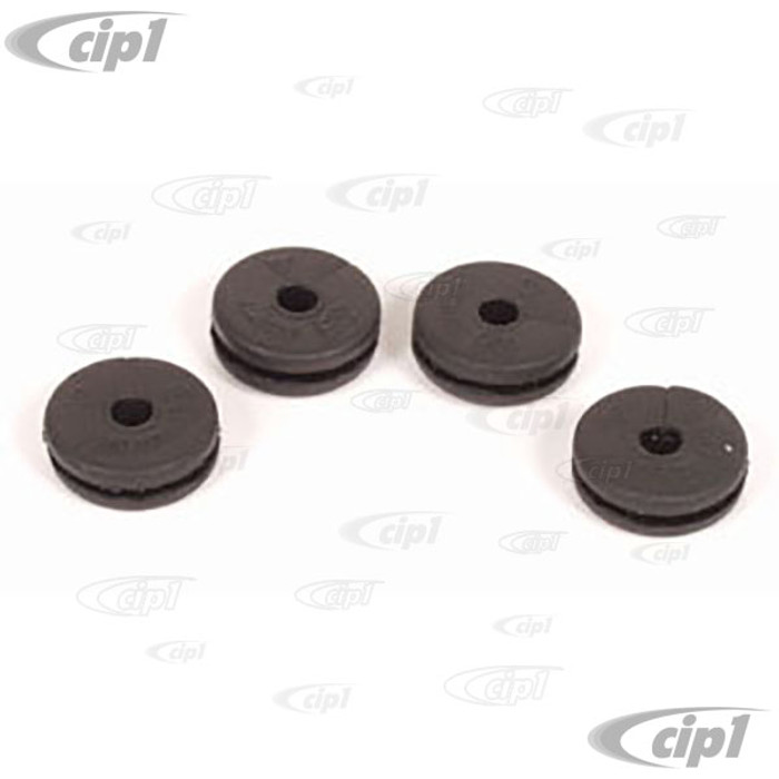 C16-211-751 - (211-611-751 211611751) - SET OF 4 RUBBER GROMMETS - SEAL FOR BRAKE LINE THRU CHASSIS - BEETLE 52-79 GHIA 56-74 - BUS 50-79 - TYPE-3 61-74 THING 73-74 - SOLD 4 PIECE SET