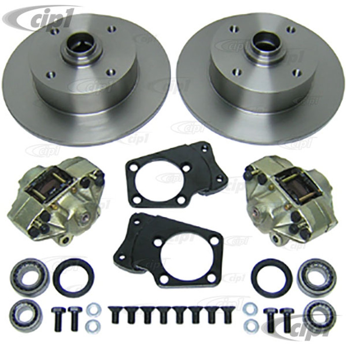 ACC-C10-4123 - CIP1 EXCLUSIVE - DELUXE FRONT DISC BRAKE CONVERSION KIT WITH GERMAN W/BRGS - (WITH YOUR CHOICE OF BOLT PATTERN) FITS SUPER BEETLE 71-79 - SOLD KIT