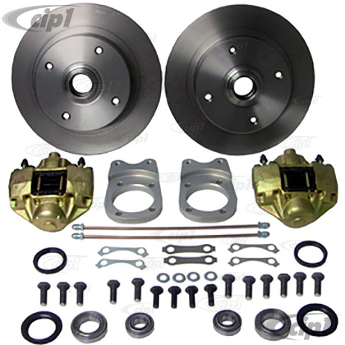 ACC-C10-4123-DLX - DELUXE (GERMAN MADE BRACKETS & STAINLESS STEEL HOSES & HARDWARE) FRONT DISC BRAKE CONVERSION KIT (SEE SPECIAL NOTE BELOW BEFORE ORDERING) - SUPER BEETLE 71-79  - SOLD KIT
