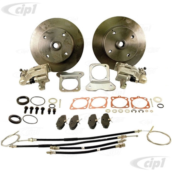 ACC-C10-4126-FKT - EMPI 22-2870-F - BEETLE/GHIA REAR DELUXE DISC BRAKE KIT WITH E-BRAKES - CHOICE OF BOLT PATTERNS - WITH H.D.CAST CNC PRECISION MOUNTING BRACKETS - SOLD KIT