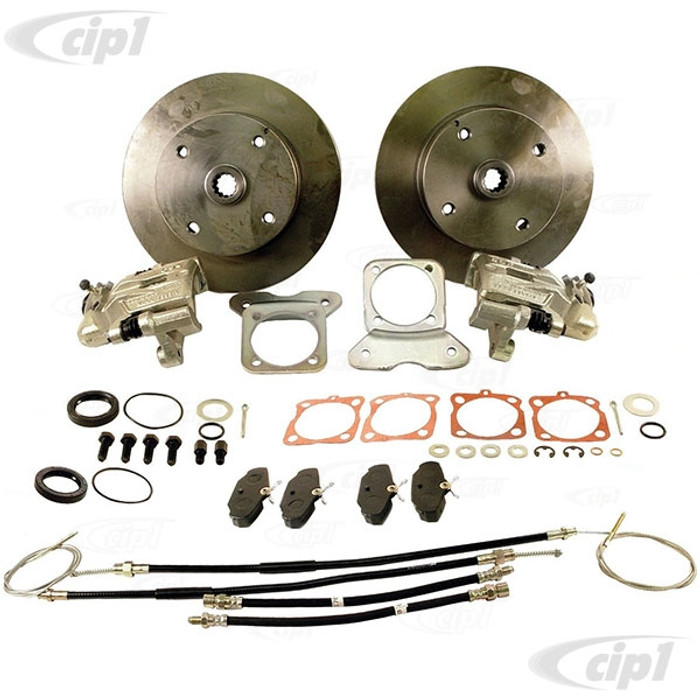 ACC-C10-4126-KT - BEETLE/GHIA REAR DISC BRAKE KIT WITH E-BRAKES - CHOICE OF BOLT PATTERNS - W/STANDARD STAMPED MOUNTING BRACKETS (PLEASE READ SPECIAL NOTES) - (A40)