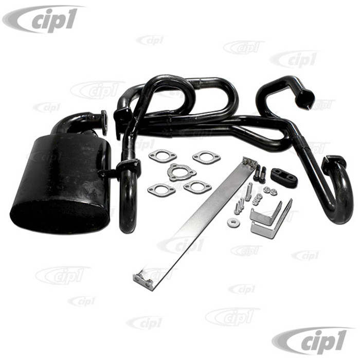 C19-251-12-SR - (SIMILAR TO EMPI 00-3485-0) - BLACK 1-1/2 INCH MERGED SIDEFLOW/WINDER EXHAUST SYSTEM WITH MUFFLER – FITS BEETLE WITH 1600CC STYLE ENGINE - SOLD KIT