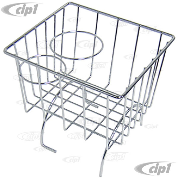 C21-0548-03 - CHROME STOW AWAY BASKET AND CUP HOLDER - OVER MIDDLE HUMP (BASKET MEASURES 7-3/8 IN. WIDE X 8-1/4 IN. LONG X 8-1/4 IN. TALL) - ALL BEETLE/GHIA/TYPE-3 - SOLD EACH