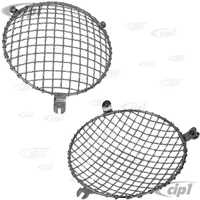 C23-108-010 - SCREW-ON STYLE - EUROPEAN STYLE HEADLIGHT MESH GRILL COVERS - BEETLE 46-66 / BUS 52-67 / 356 (WITH ORIGINAL STYLE LENS ONLY) - SOLD PAIR