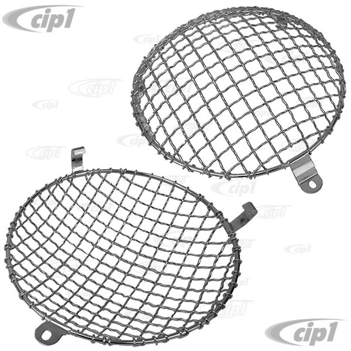 C23-108-011 - CLIP-ON STYLE - EUROPEAN STYLE HEADLIGHT MESH GRILL COVERS - BEETLE 46-66 / BUS 52-67 / 356 (WITH ORIGINAL STYLE LENS ONLY) - SOLD PAIR