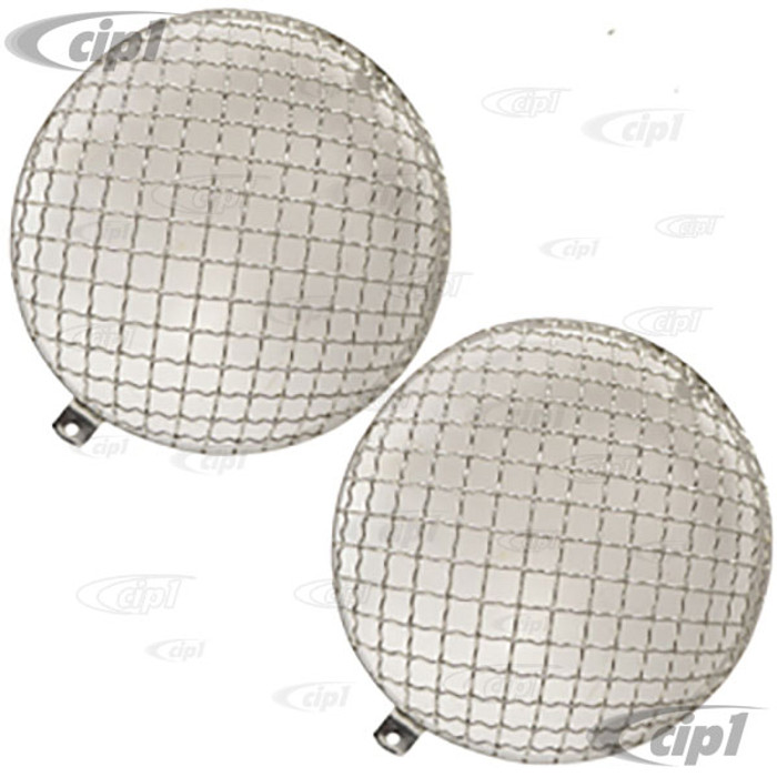 C23-108-014-BO - BOLT-ON (NO DRILLING REQUIRED) - EUROPEAN STYLE HEADLIGHT MESH GRILL COVERS - BEETLE 67-79 / BUS 68-79 / TYPE-3 62-73 - SOLD PAIR