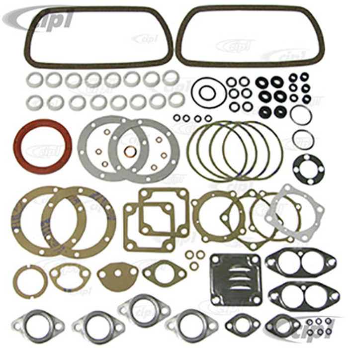 C24-111-198-007-APS - (111198007A) GERMAN ELRING BRAND - COMPLETE ENGINE GASKET SET WITH FLYWHEEL SEAL - 13-1600CC AIRCOOLED ENGINES - SOLD KIT
