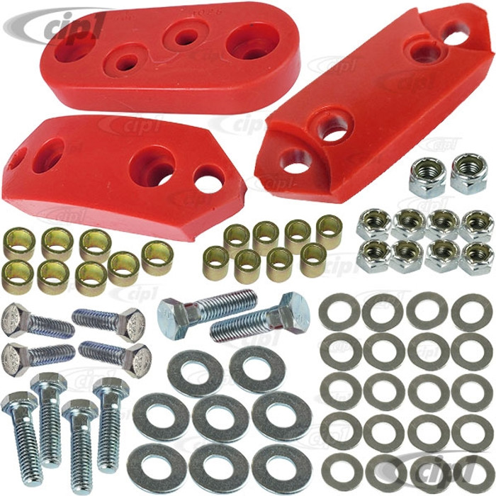 ACC-C10-4796 - (EMPI 9540 AC311215) RED URETHANE TRANSMISSION MOUNTS WITH HARDWARE - FRONT & REAR - BEETLE / GHIA 61-72 - SOLD SET