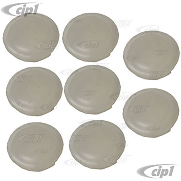 C24-111-831-449-AC8 - (111831449A) TOP QUALITY - SET OF 8 - DOOR HINGE HOLE COVERS - CLEAR/WHITE PLASTIC - ALL BEETLE 60-79 - SOLD SET OF 8