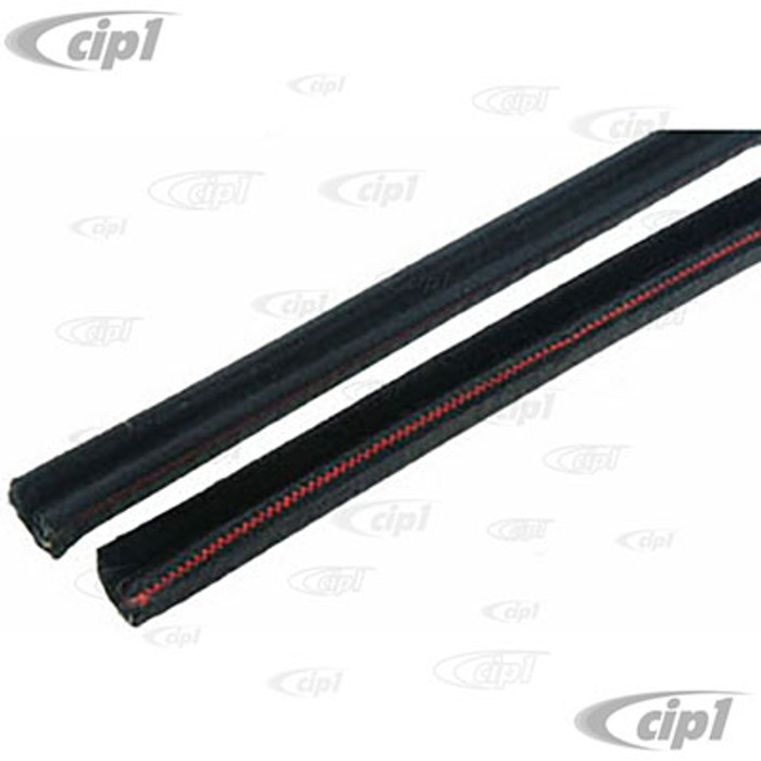 C24-111-837-439-DPR - (111837439D) TOP QUALITY GERMAN MADE - PAIR OF DOOR FELT CHANNELS - ALONG TOP AND DOWN BACK OF GLASS - BEETLE 52-79 - BUS 68-79 - TYPE-3 62-73 - SOLD PAIR
