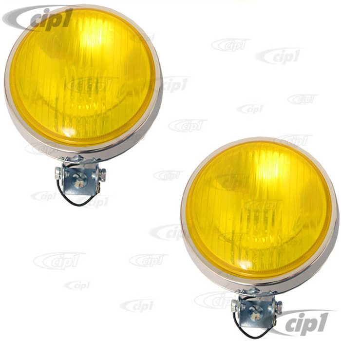 C24-111-941-100-YPR - PAIR OF 4 INCH FOG LIGHTS - CURVED YELLOW LENS WITH CHROME HOUSING (UNIVERSAL FIT) - PAIR