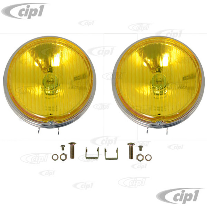 C24-111-941-120-YPR - PAIR OF 6 INCH FOG LIGHTS WITH H3 BULB - AMBER LENS WITH CHROME HOUSING (UNIVERSAL FIT) - PAIR