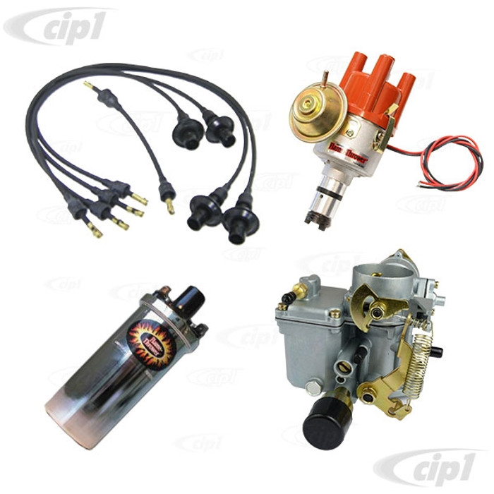 C24-113-129-031-KKTC - SUPER PACKAGE - 34 PICT-3 CARBURETOR WITH 12V CHOKE - PERTRONIX IGNITOR DISTRIBUTOR/CHROME COIL/WIRE SET - BEETLE/GHIA/BUS WITH 1600CC DUAL PORT - SOLD EACH
