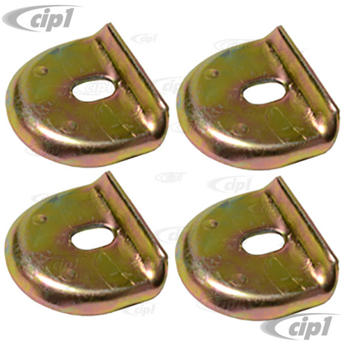 C24-113-201-635-4 (113201635) ALTE STYLE FUEL/GAS TANK HOLD DOWN RETAINER TABS - ORIGINAL FOR 70-79 MODELS - WILL FIT ALL YEARS (CAN BE SILVER OR GOLD-CAD PLATED) - ALL BEETLE / GHIA / TYPE-3 - SOLD SET OF 4