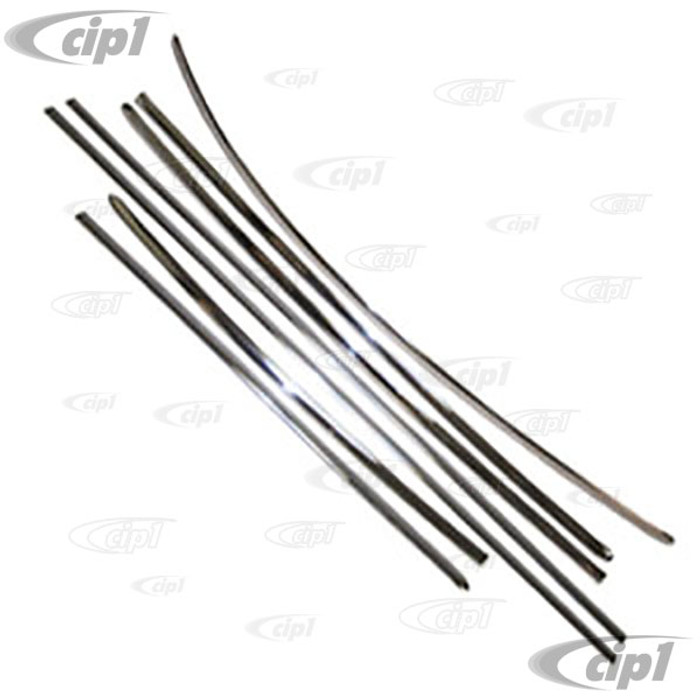 C24-113-898-111-BSL  - TOP QUALITY  - 7 PIECE POLISHED STAINLESS STEEL BODY MOLDING KIT - HOOD STRIP 39-1/4 INCH (18MMx999MM) - BEETLE 64-66 - 1963 ONLY W/O HOOD BADGE - (10)
