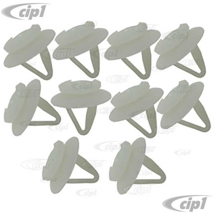 C24-171-807-249-A10 - (171807249A) GERMAN - PLASTIC MOUNTING CLIPS FOR ORIGINAL VW RUBBER BUMPER IMPACT STRIP ONLY (NOT FOR AFTERMARKET) - VANAGON 80-91 - RABBIT/GOLF/SCIROCCO 75-78 - SOLD SET OF 10