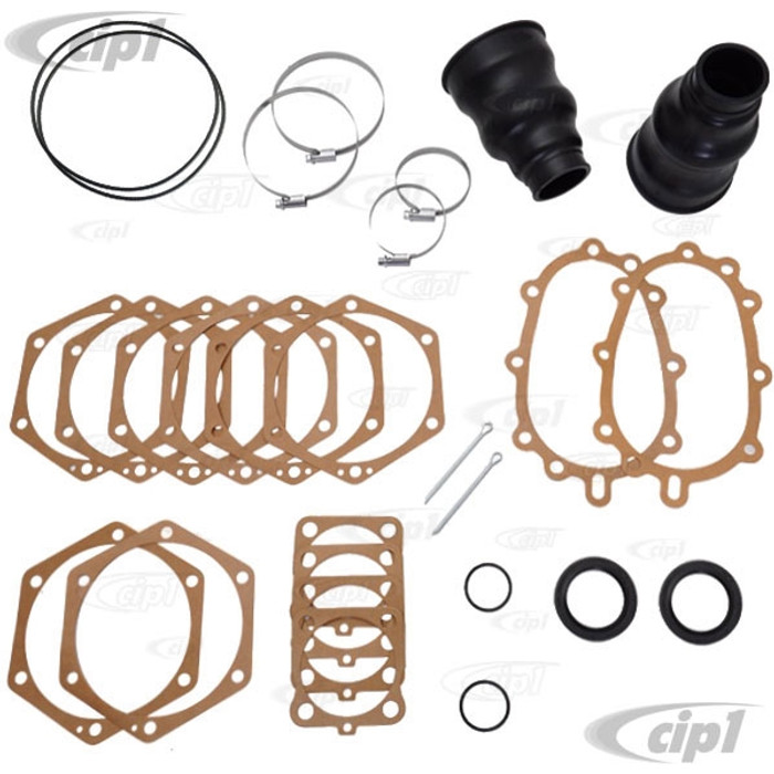 C24-211-598-051-ADLX - (211598051A) GENUINE GERMAN - DELUXE SWINGAXLE REDUCTION BOX AXLE TUBE GASKET AND BOOT KIT - BUS 64-67 - SOLD KIT