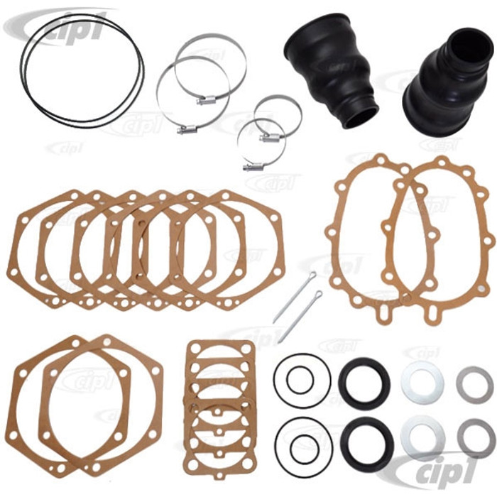 C24-211-598-051-DLX - (211598051) GENUINE GERMAN - DELUXE SWINGAXLE REDUCTION BOX AXLE TUBE GASKET AND BOOT KIT - BUS 50-63 - VW THING W/REDUCTION BOXES - SOLD KIT