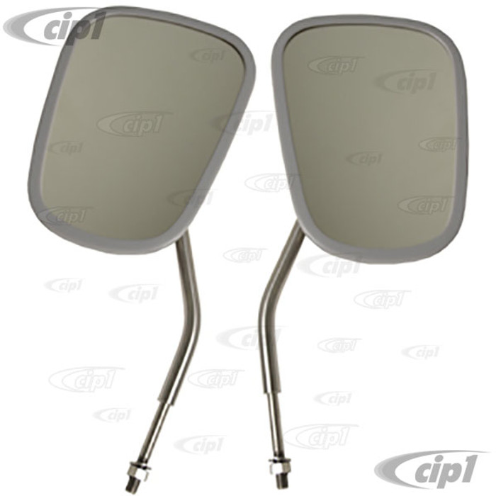 C24-211-857-513-BSPR - TOP QUALITY REPRODUCTION - STAINLESS STEEL OUTSIDE MIRRORS (ELEPHANT EAR STYLE) - BUS 55-67 - SOLD PAIR