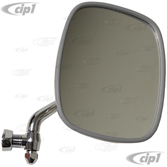 C24-211-857-514-FW - (211857514F) TOP RESTORATION QUALITY - POLISHED STAINLESS STEEL OUTSIDE DOOR MIRROR - RIGHT - BUS 68-79 - SOLD EACH