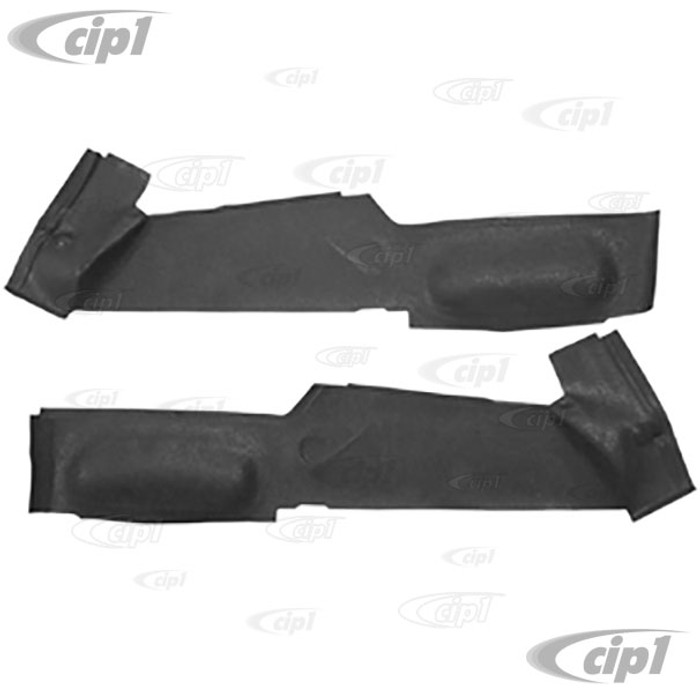 C24-211-867-765-A - (211867765A) EXCELLENT REPRODUCTION - 2 PIECE BLACK MOLDED RUBBER MATS - BLACK - AROUND SIDE SEAT PEDESTAL (SEE NOTES ABOUT COLOR) - BUS 68-76 - SOLD PAIR