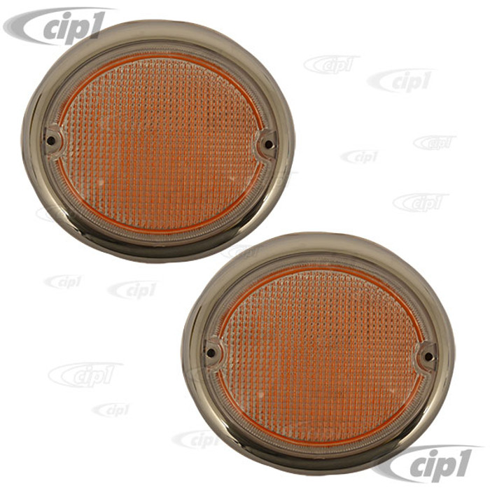 C24-211-953-161-2B - (211953161B) EXCELLENT GERMAN QUALITY - FRONT TURN SIGNAL LENS LEFT & RIGHT PAIR - BUS 62-67 - SOLD PAIR