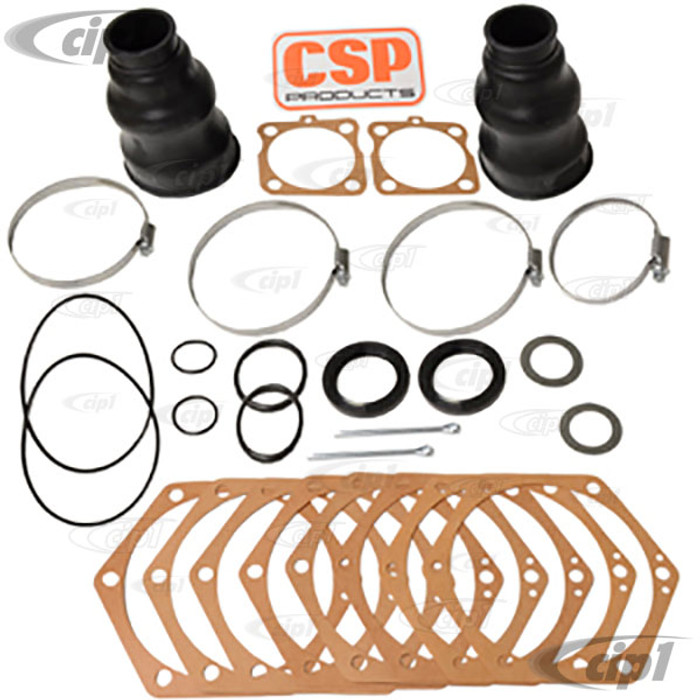 C24-311-598-051-DLX - GENUINE GERMAN - DELUXE SWING AXLE TUBE GASKET AND BOOT KIT - BEETLE 46-68 / GHIA 56-68 / BUS 50-67 / TYPE-3 62-68 - DOES BOTH SIDES