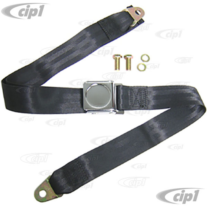 C26-857-003L - 2 POINT LAP BELT - BLACK FOR ALL FRONT OR REAR - WITH ROUND INSERT FOR ROUND EMBLEM - EMBLEM SOLD SEP. - SOLD EACH