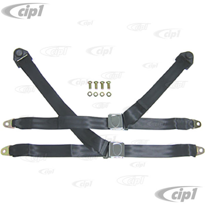 C26-857-013WC - 3 POINT SEAT BELTS WITH SHOULD BELT - BLACK FOR FRONT LEFT AND RIGHT - WITH INSERT FOR WOLFCREST EMBLEM - EMBLEM SOLD SEP. - SOLD PAIR
